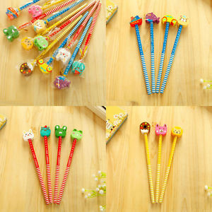 Novelty 12Pcs Wooden Cute Cartoon Long Stationery Pencil Students Gift Random