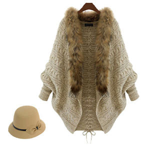 Women Coat Sweater Knit Fur Collar Thicken Shawl Batwing Sleeve Cardigan ZQ