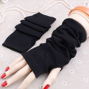 Unisex Women Wool Hot Winter Knitted Fingerless Long Gloves Warm Mitten