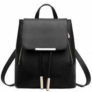 Women Leather Backpacks Schoolbags Travel Shoulder Bag Mochila Feminina Black