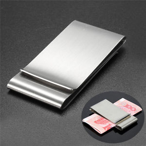 Ultra Thin Slim Stainless Money Clip Double Sided Credit Card Holder Wallet New