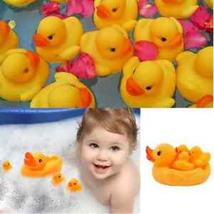 Alcoa Prime Cute Lovely Funny Baby Bath Bathing Toy Rubber Race Foat Squeaky Ducks Yellow