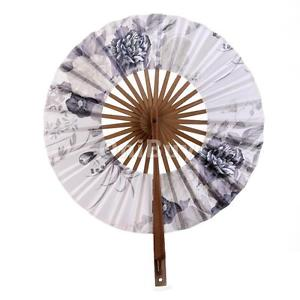 Alcoa Prime Hand Held Japanese Sakura Flower Round Windmill Folding Hand Fan Court Fan