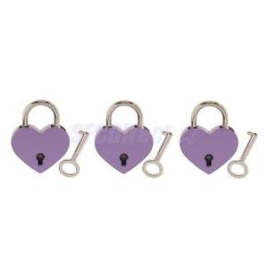 Alcoa Prime Retro Heart Shape Padlock w/ Key Suitcase Lock Valentine's Day Purple 3 Set