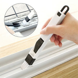 New 2 In 1 Polished Window Track Cleaning Brush Keyboard Nook Cranny Dust ShoveB