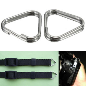 1Pair Replacement Chrome Finish Split Ring Camera Strap Triangle Rings Hook New