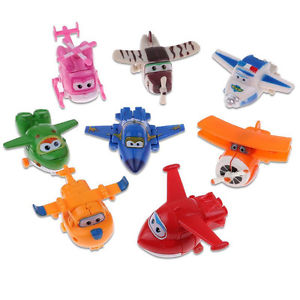 8Pcs TV Animation Super Wings Transforming Plane Mini Toys Characters kid Gift