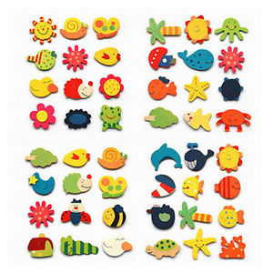 Alcoa Prime Funny 12X Baby Kid Wooden Magnet Educational Toy Kitchen Fridge Cartoon NEW