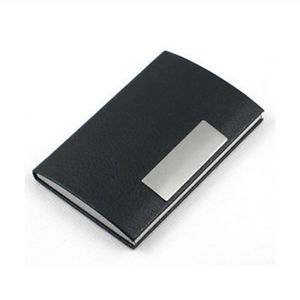 Black Pocket Leather Metal Business ID Credit Card Holder Case Wallet Perfect