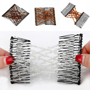 2Pc EZ Comb Ladies Party Hair Styling Magic Double Slide Stretchy Clip Gift