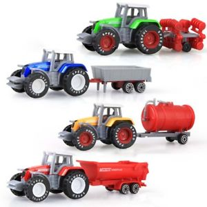 4Pcs 1:64 Engineering Car Tractor Farm Vehicle Model Boy Children Kids Toy Charm