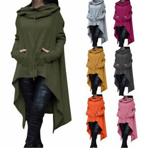 Women's Solid Color Long Sleeve Loose Casual Hooded Pullover Sweatshirts TO
