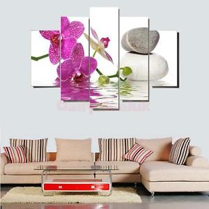 Alcoa Prime 5pc Canvas Modern Living Room Decorative Wall Art Painting Orchid&Rock Print