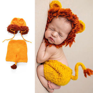 Alcoa Prime 2Pcs/Suit Baby Lion Shaped Handmade Knit Crochet Hook Clothing Photography Props