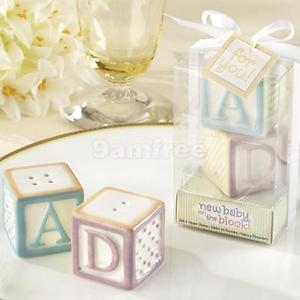 """AB"" ""CD"" Cube Block Ceramic Salt & Pepper Shakers Set Bomboniere Wedding Favors"