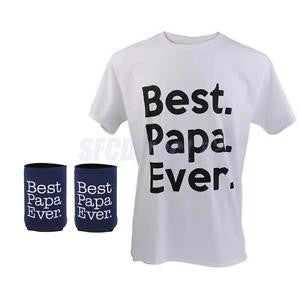 Alcoa Prime Best Papa Ever Gift Father's Day O-Neck Cotton T-Shirt Pair Beer Can Coolers