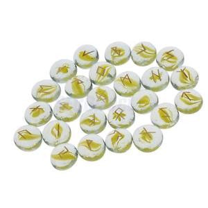 Alcoa Prime Yellow Runes Stones w/ Gold Runic Lettering Engraved Gift Collectibles 25Pcs