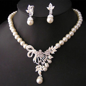 Alcoa Prime Fashion Rhinestone Necklace Earrings Charm Set Faux Pearl Wedding Jewelry