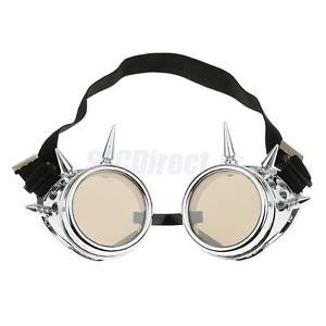 Alcoa Prime Vintage Steampunk Spiked Goggles Cyber Punk Goth Cosplay Glasses Silver