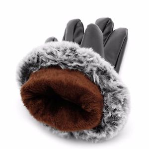 Alcoa Prime Black Women Touch Screen Leather Gloves Autumn Winter Warm Rabbit Fur Mittens