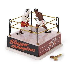 Alcoa Prime Vintage Wind Up Boxing Ring w/ Two Boxers Clockwork Home Decor Collectibles