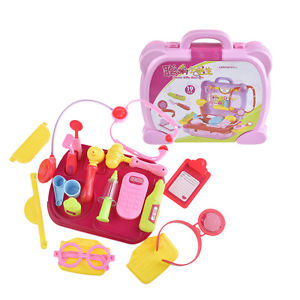 19 Pcs Kids Nurse Doctor Pretend Medical Set Case Kit Educational Role Play Toys