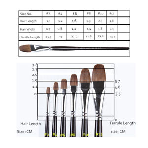 6pcs Sable Hair Artist Art Paint Brush Watercolor Oil Acrylic Brush Long Handle