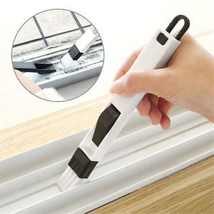 2 In 1 Polished Window Track Cleaning Brush Keyboard Nook Cranny Dust Shovel GS