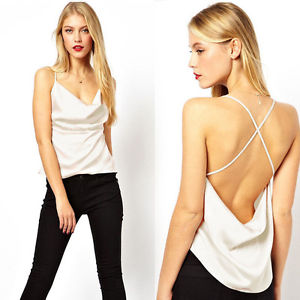 Women Backless Sleeveless Vest Tank Tops Cut-out T Shirt Tops Blouses Shirt Sexy