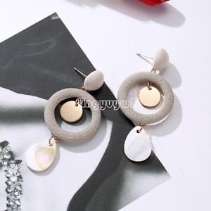 Fashion Womens Brass Shell Earring Plated Gold Charm Gold Plated White Shell