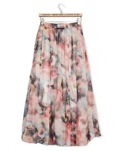 Women Retro Long Maxi Skirt Elastic WaistBand Dress Floral Print Chiffon Pleated