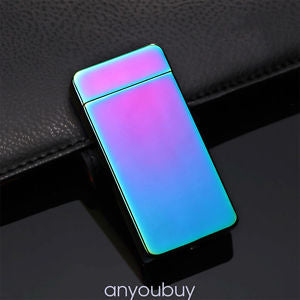 Rechargeable Windproof Flameless Cigarette USB Double Arc Plasma Lighter Rainbow