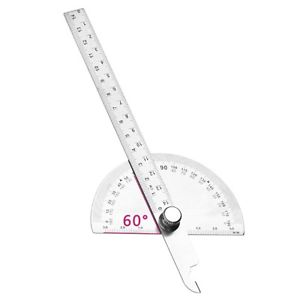 Angle Ruler Round Head Rotary Protractor Adjustable Stainless Steel Measuring