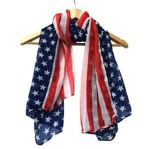 Alcoa Prime Fashion Women American Flag Soft Silk Chiffon Scarf Wrap Shawl Stole Scarves USA