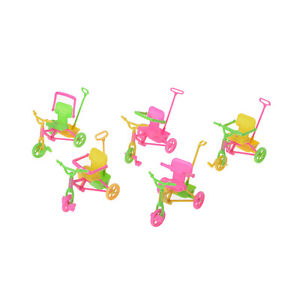 Cute Plastic Bike Tricycle with Push Handle for Dolls Kids Gift BB