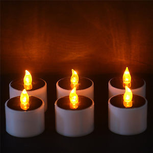 Yellow Solar Power LED Candles Flameless Electronic Solar LED Tea Lights Lamp LE