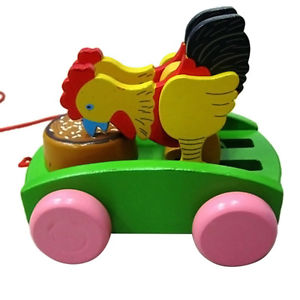 Children Wooden Rooster Animal Pull Carts Kit Drum Preschool Toddler Toys Gifts