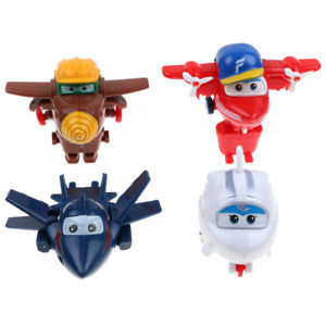 Alcoa Prime 4Pcs Mini Super Wings Robot Airplane Transformer Animation Character Kids Toy US