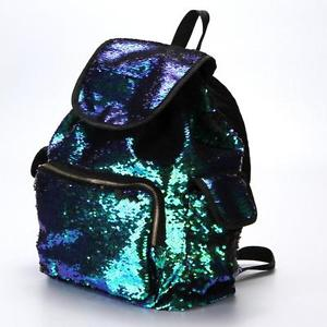 Double Color Sequins Girls School Bag Soft Backpack Fashion Bag