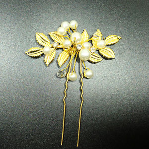 Bride wedding handmade pearl headdress olive leaf hairpin dress hair accessories