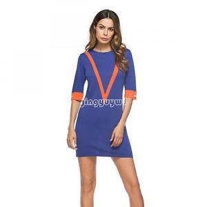 Woolen Cotton Dress knitted Women Cocktail Blue V Striped Half Sleeve Dresses