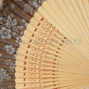 Alcoa Prime Chinese Japanese Folding Hand Held Fan Silk Flower Bamboo Pocket Dance Decor