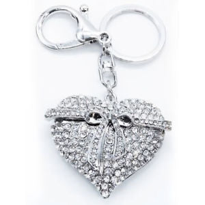 Fashion Belt with Love Heart Keychain Crystal Keyring Rhinestones Purse Pendant