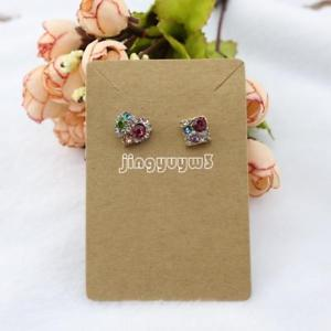 100Pc Kraft Jewelry Set Display Card For Earring Necklace Label Coffee 60*90mm