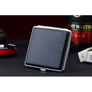 Black Faux Leather Metal Leather Cigarette Case Box Hold For 20 Cigarettes YS14