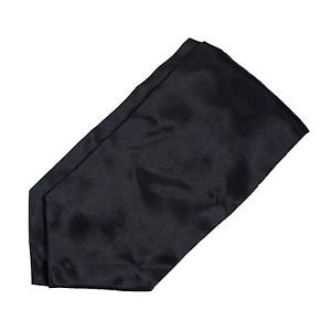Alcoa Prime Satin Tuxedo Wedding Self Ascot Cravat Necktie for Men - Black N3