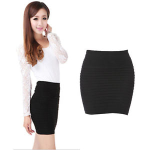 Alcoa Prime Women's Pleated Seamless Stretch Tight Sexy Bodycon Pencil Mini Skirt Black Set
