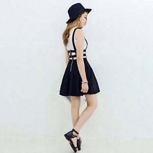 Lady's Woman Mini Skirt High Waist Pleated Skater Flared Suspender Braces Dress