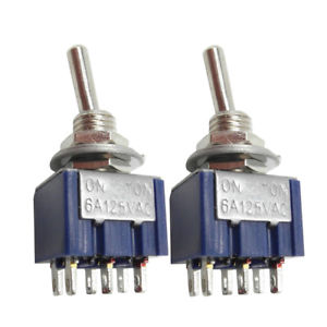10Pcs MIni 6A 125V AC SPDT MTS-102 3Pin 2 Position OnOn Power Toggle Switch #WS