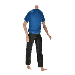 "Great Handmade Black Pants Blue T-Shirt for 11"" Barbies Ken Dolls TO"